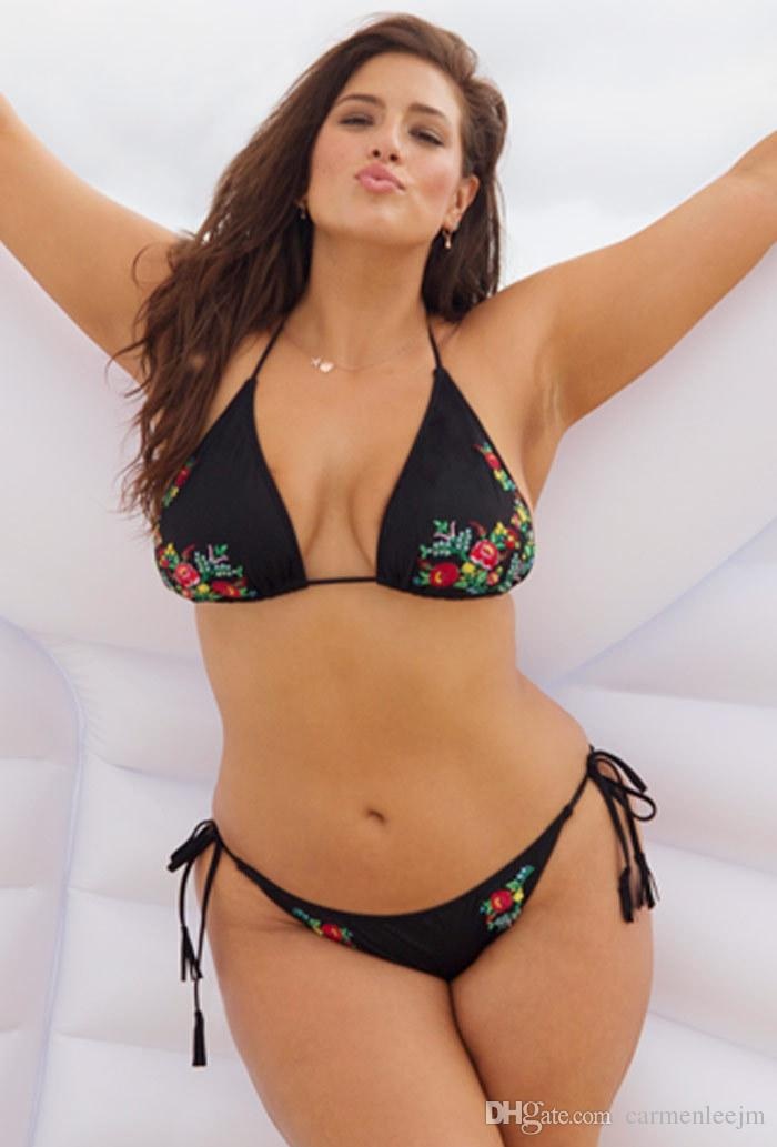 7f42e0356f 2019 Plus Size Bikini Swimwear For Chubby Women 2018 Sexy Two Piece Bikini  Set Black Embroidery Floral Printed Large Size Swimwear Bathing Suit From  ...