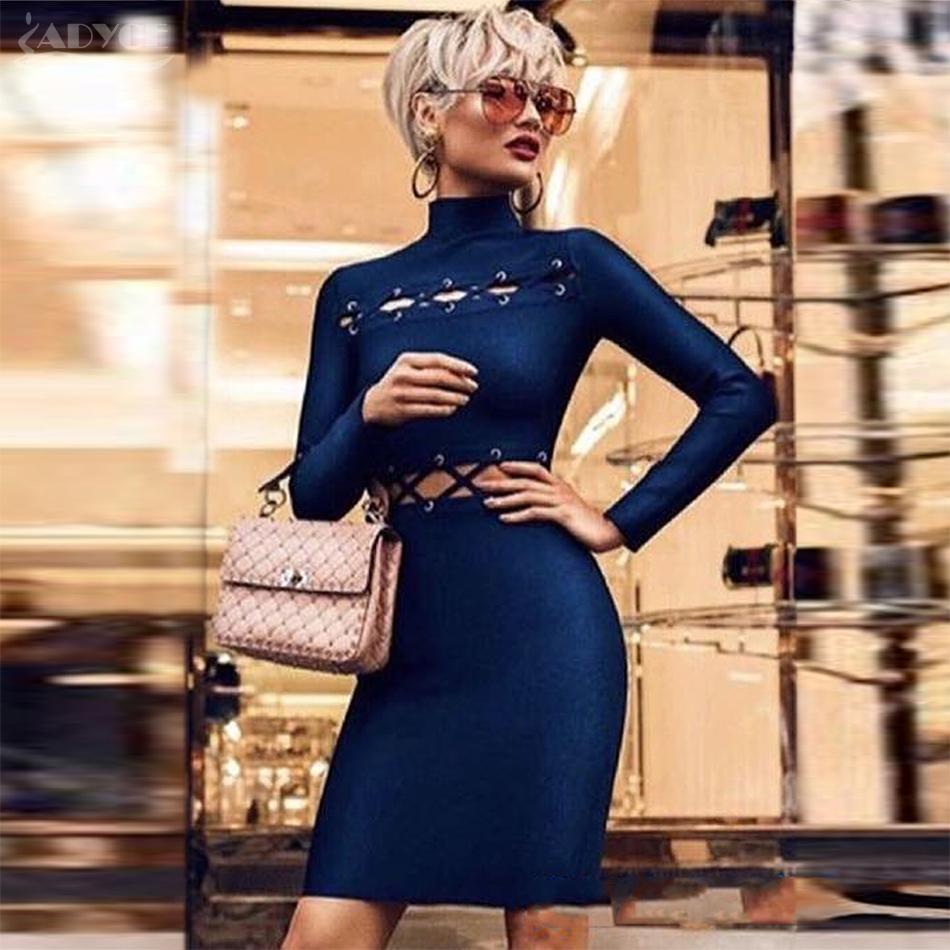 289f16282ba8 2018 ADYCE 2018 New Elegant Bandage Dress Women Sexy Celebrity Party Dresss  Bodycon Runway Dress Long Sleeve Hollow Out Club Vestidos From Cute08