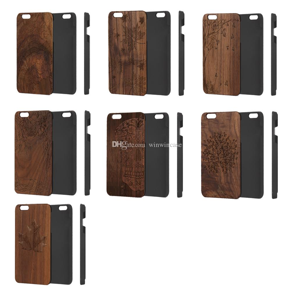 Laser engrave wooden phone case for iPhone 6plus 6s s plus i6s plus, luxury hard walnut wood back cover for Apple i Phone