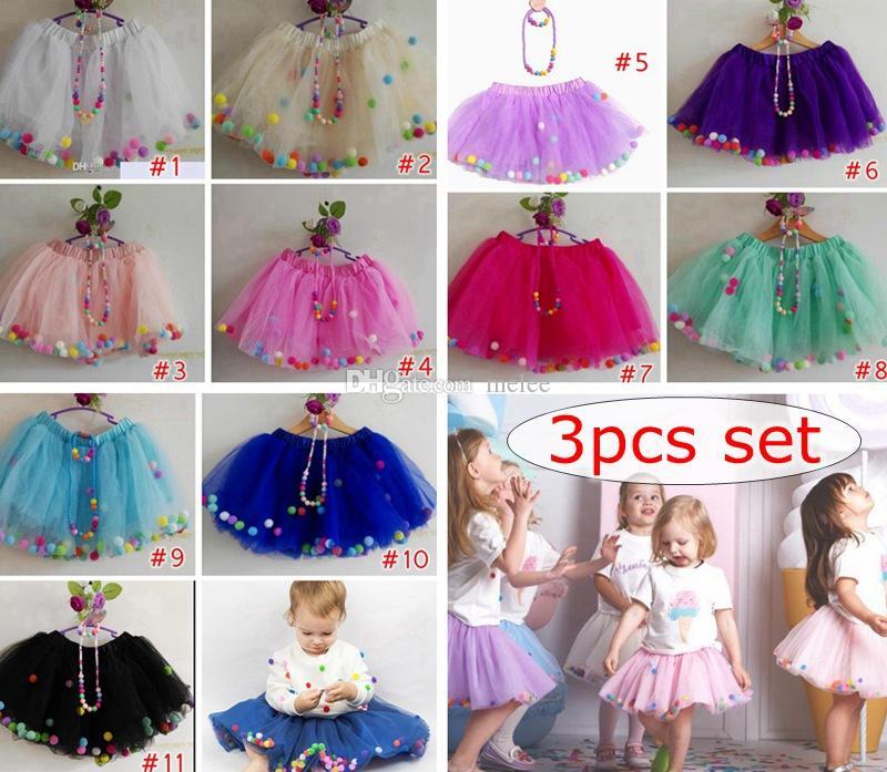 02e89e11cf 2019 Set Girl Tulle Skirts Fluffy Baby Tutu Skirt Rainbow Pom Poms  Pettiskirt Necklace Bracelet Ballet Tutu Skirt Girls Birthday Party Dress  From Melee, ...