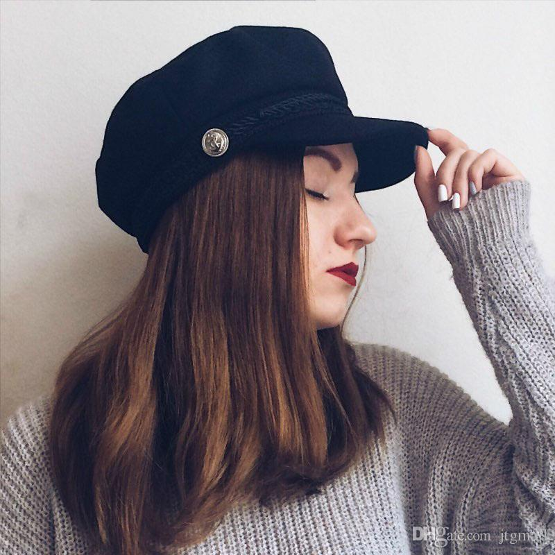 02e89c7abdc 2019 Newsboy Military Cap Beret Hat Female Spring Hats For Women Men Ladies  Army Militar Hat Button Visor Black Cap Sailor Hat Bone From Jtgmall