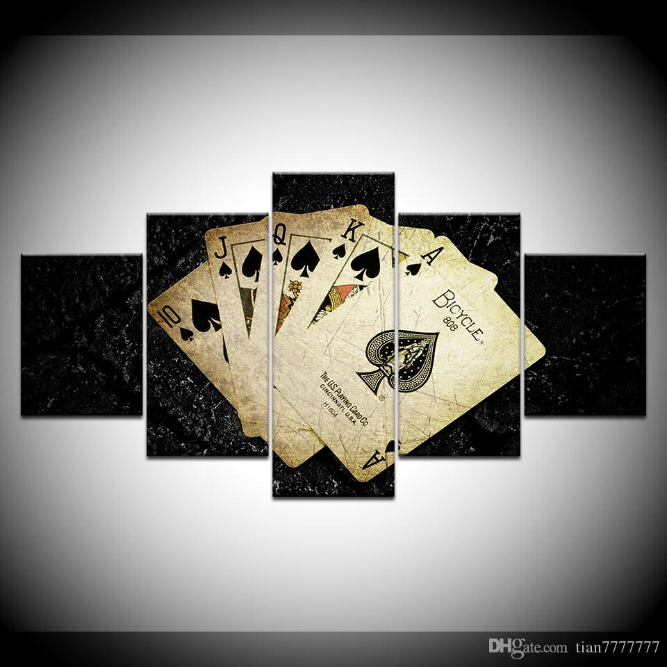 5 Panel Poker Pattern Canvas Painting Home Living Room Decor Poker HD Picture Pittura senza poster stampa incorniciata