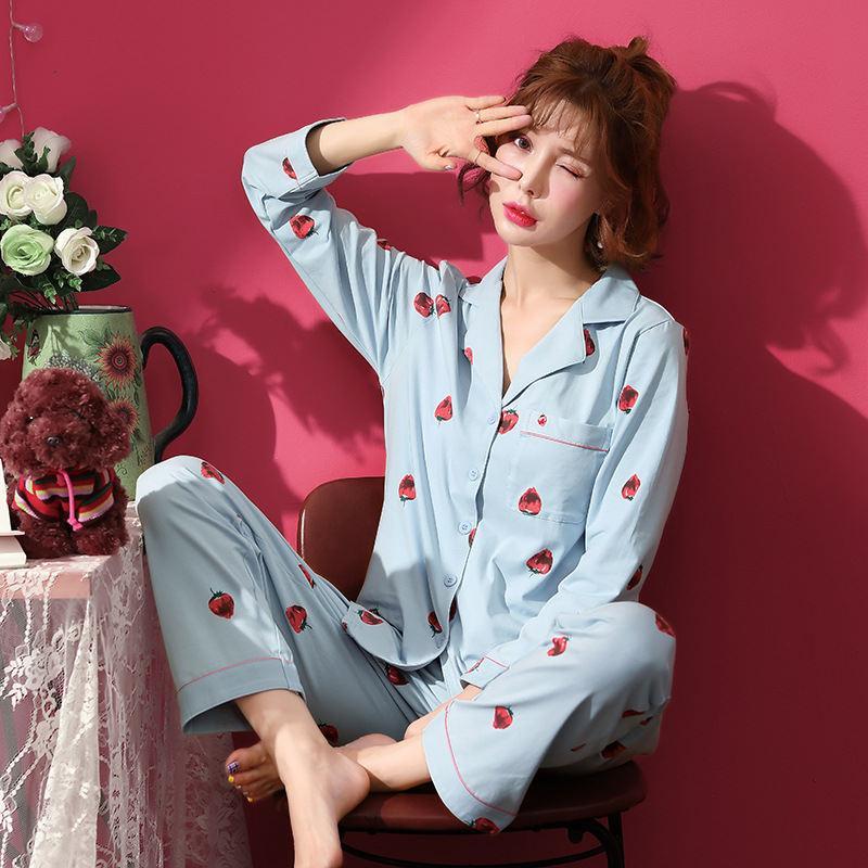 c556ecc5f Compre Promoción Pijama Pijamas Nuevo 2018 Conjuntos De Pijama Para Mujer  100% Algodón Ropa De Dormir De Manga Larga Lindo Gato Conjunto De Salón  Ocio ...