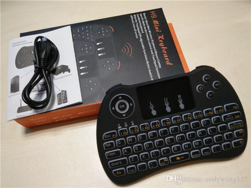 لوحة مفاتيح Blacklight بإضاءة خلفية لاسلكية H9 Fly Air Mouse لوحة تحكم عن بعد للوسائط المتعددة محمولة على نظام Android TV BOX