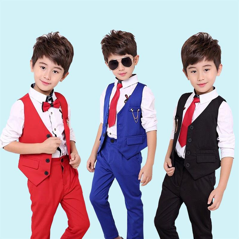 26707308197 2019 2018 NEW Child Wedding Suit Vest Shirt Pant Baby Costume 2 12Yrs Teen Boy  Prom Dress School Show Kid Clothing Set Blue Red Black From Anglestore