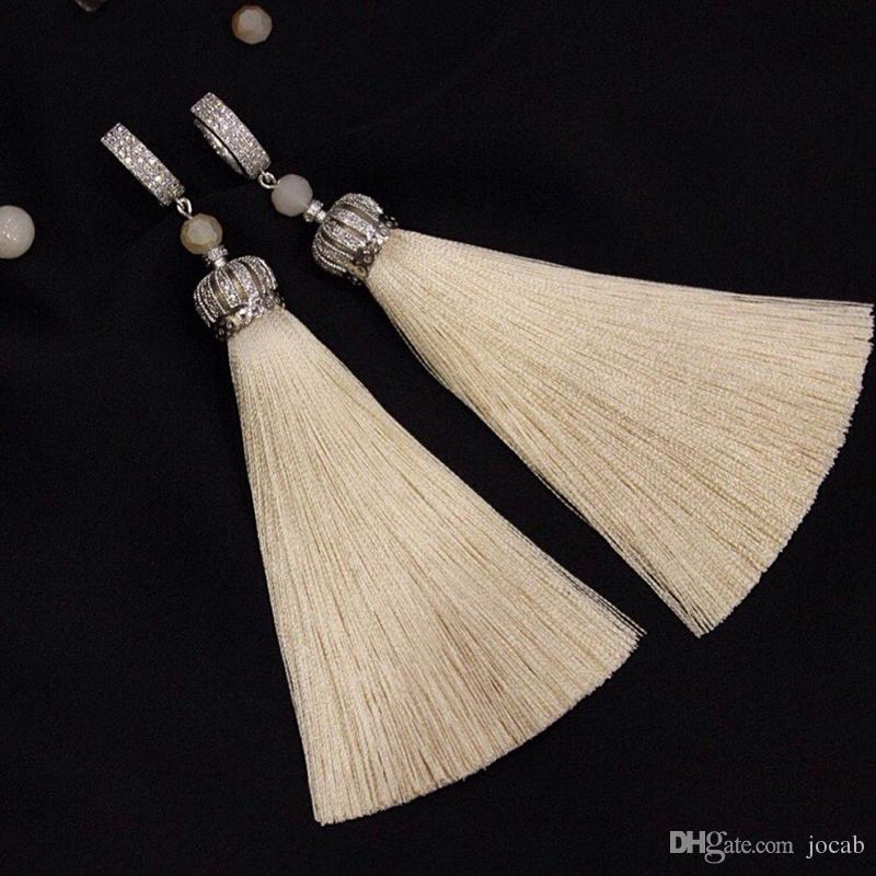 Supplies For Jewelry Wholesale Zircon Copper Crown Beads Tassel Caps Tassels Fringed Accessories DIY Making Earring Findings