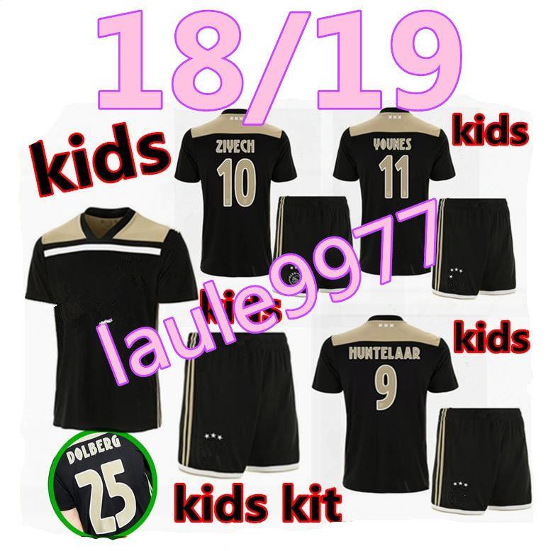 0288630d077 2019 Thai Quality 2018 2019 Ajax FC Away Kids Kit Soccer Jersey 18 19 Away  KLAASSEN FISCHEA BAZOER MILIK AJAX Boy Child Youth Football Shirts From  Laule9977 ...