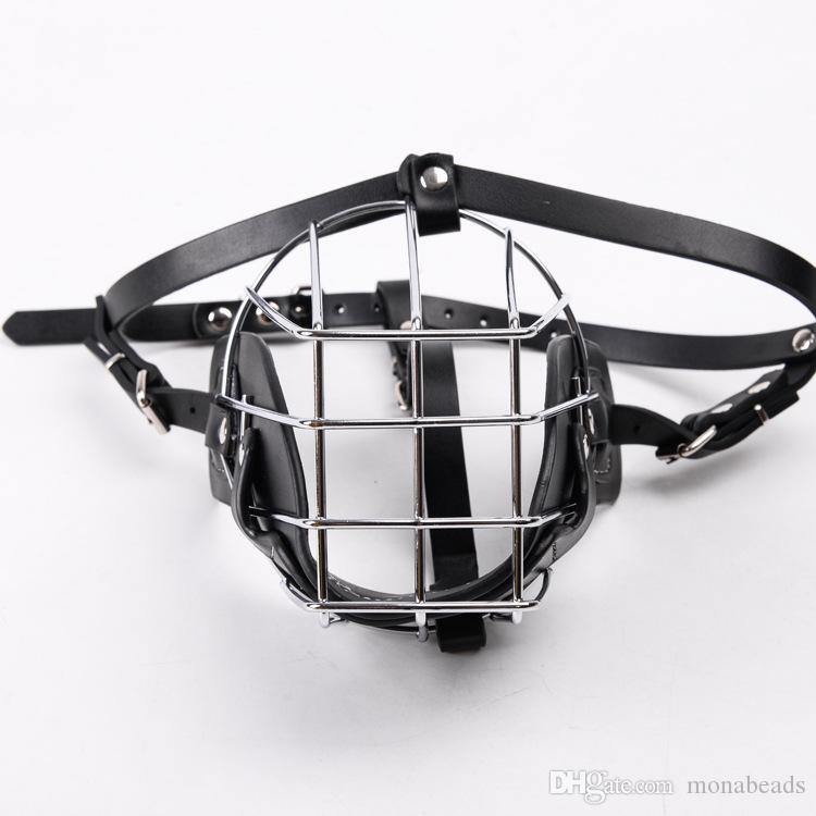 Dog Muzzle Metal Wire Leather Basket Design Dog Anti-bite Masks Mouth Cover Bark Chew Muzzle Breathable Pet Safety Mask