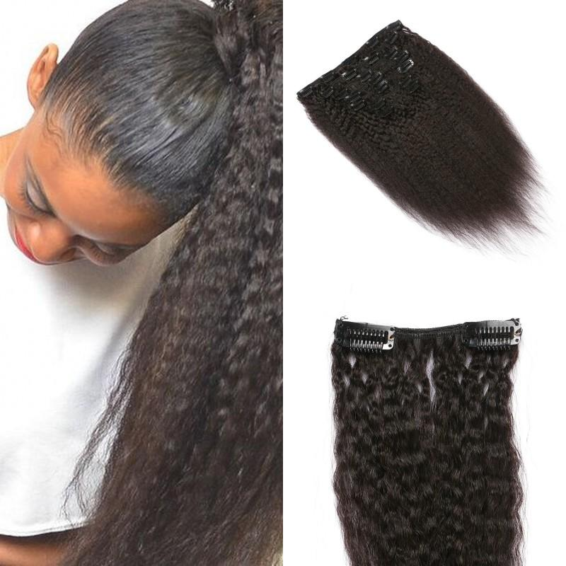 Coarse Yaki Kinky Straight Clip In Hair Extensions 100 Brazilian