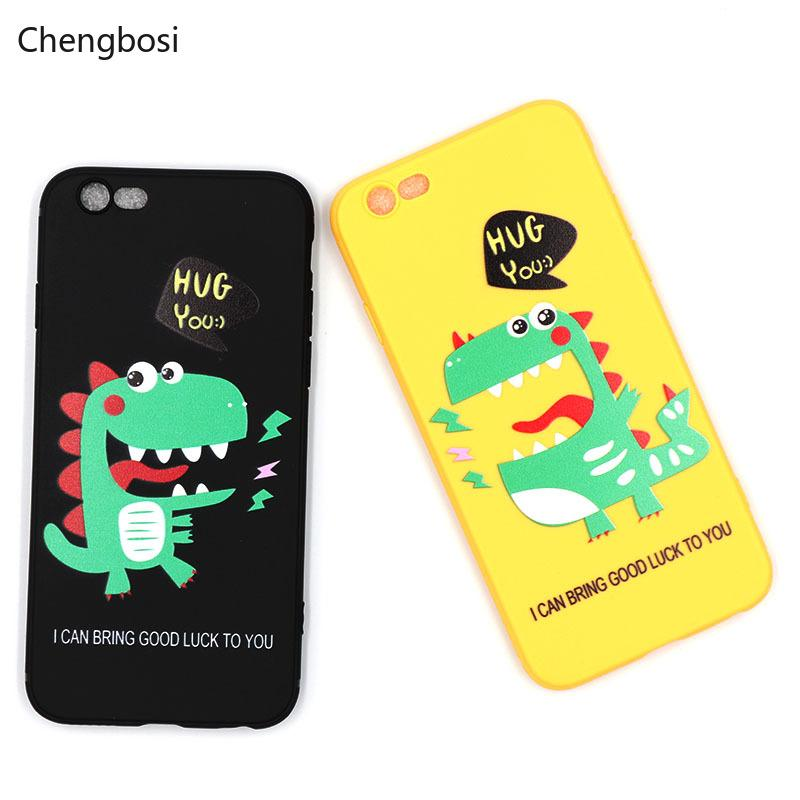timeless design 2f153 a1b89 Cartoon Cute Dinosaurs Phone Case Cover for IPhone 6 6s 7 8 Plus Soft  Bumper Painted Lovely Animal IPhone XS MAX Fitted Case