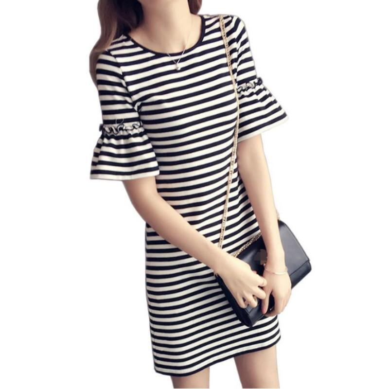 1689c31fc9f7 New Summer Women'S Black And White Striped Lady'S Casual T Shirt Dress  Round Neck Half Flare Sleeve Medium Length Dress Summer Lace Dress Black  Women ...