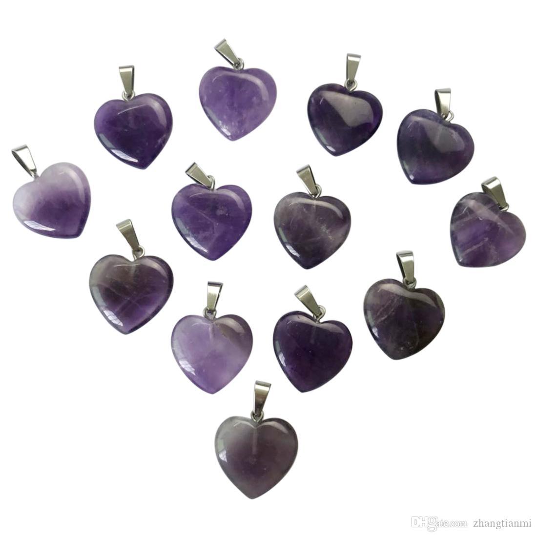 Venta al por mayor de buena calidad amatista natural piedra en forma de corazón colgante pendiente de la joyería collar colgante de moda encanto /
