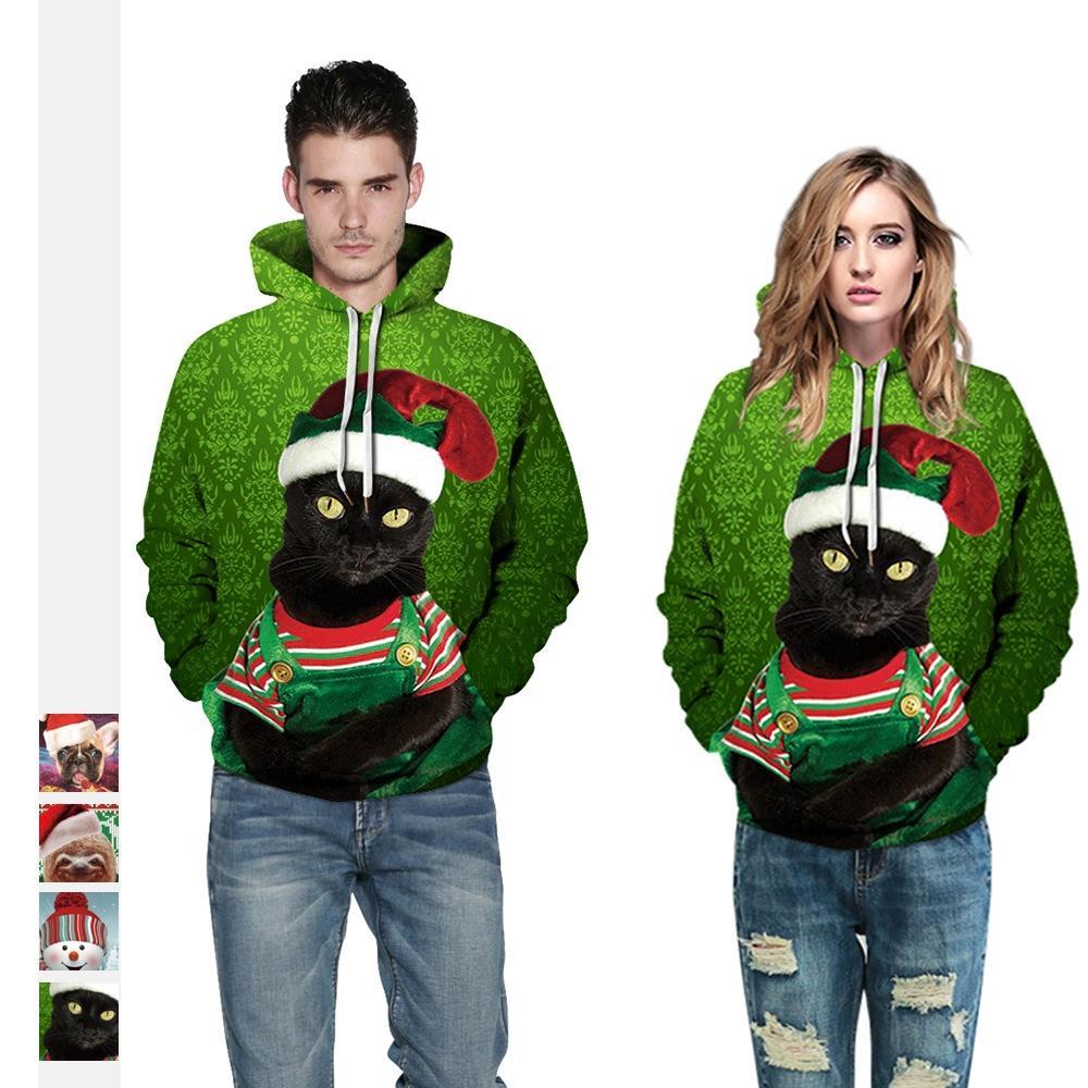 2018 European And American Digital Printing Bulldog Hooded Pullover Pockets Mens Fashion Hooded Mens Vests Hoodies & Sweatshirts