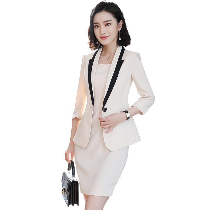 2019 2018 Women Suit Elegant Ladies Dress Suit 3 4 Sleeve Blazer