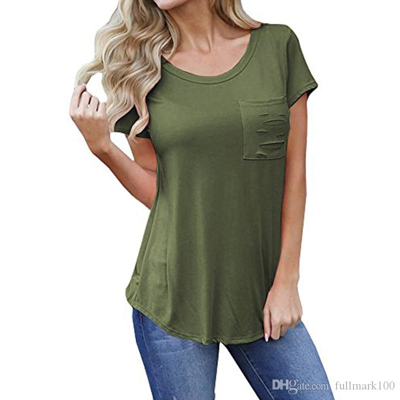 Front Ripped Pocket T Shirt Women S Casual Plain Color Soft Cotton Light  Weight Short Sleeve Tunic Tops Tourist Shirt Fun Tee From Fullmark100 5f4f921c2