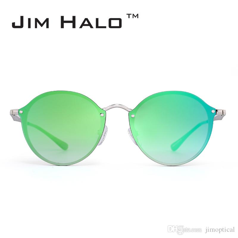 Compre Jim Halo Sin Montura Redonda Espejo Ligero Metal Gafas De Sol ...