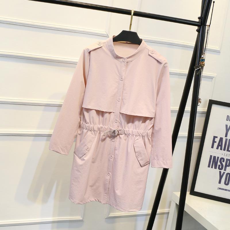 NFIVE Marque 2017 Femmes Solide Taille Manteaux De Mode Coréenne Fat Personnes Seul Trench Breasted Automne Plus La Taille Bodycon Casual Manteau