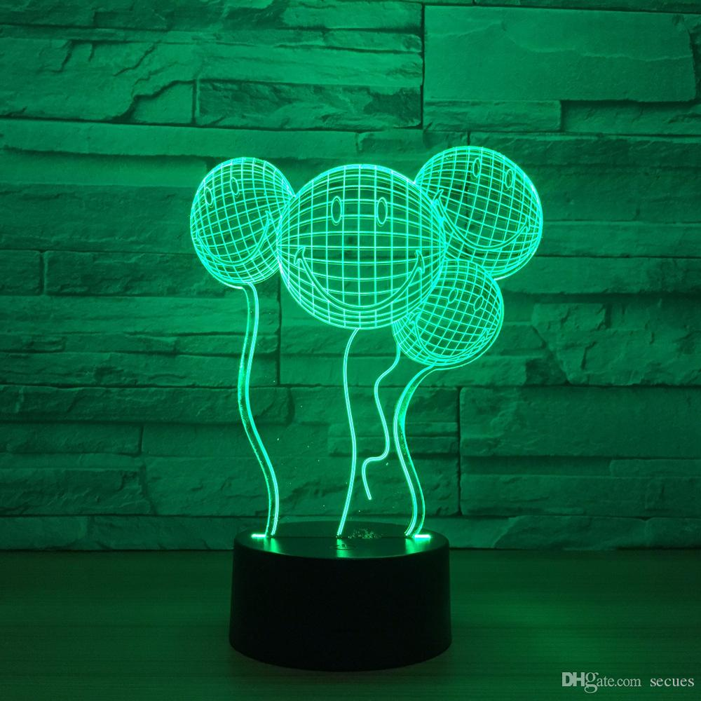 Smile Balloons 3D Optical Illusion Lamp Night Light DC 5V USB Powered 5th Battery Wholesale Dropshipping