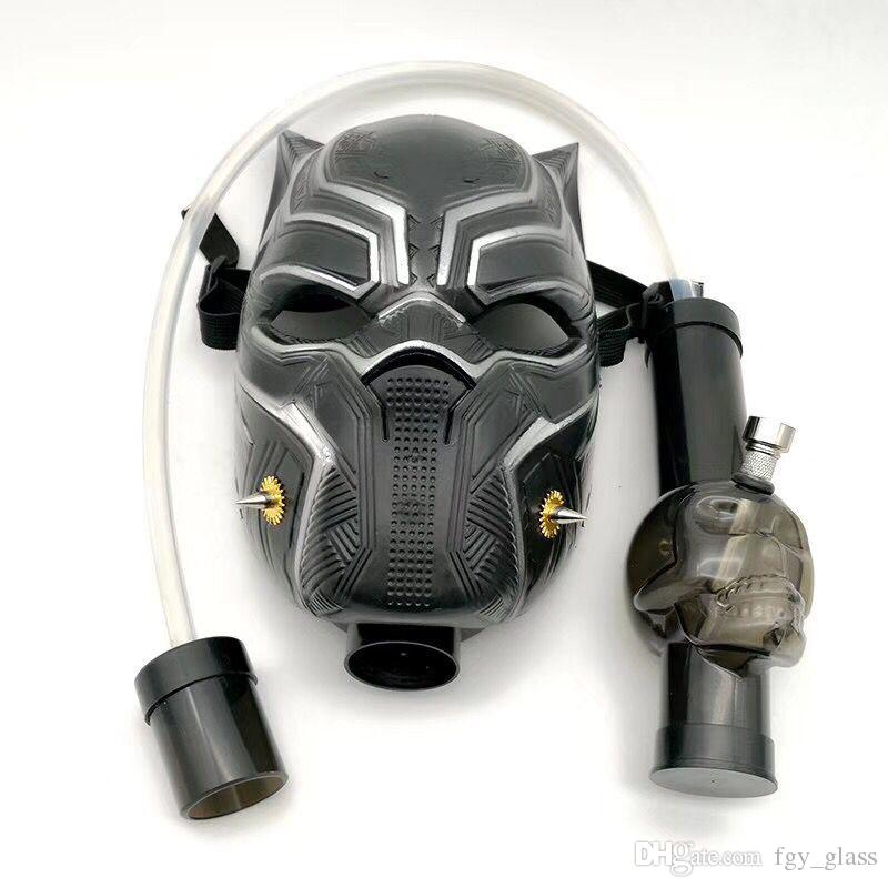 Gas Mask Smoking Bong Water Pipe Black Panther Acrylic Gas Mask Dab Rig With Straight Tube Hookah In Stock
