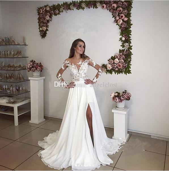 Bohemian Beach Wedding Dresses 2018 A Line Sheer Bateau Long Sleeve Side Split Lace Top Chiffon Sweep Train Garden Country Bridal Gowns Boho