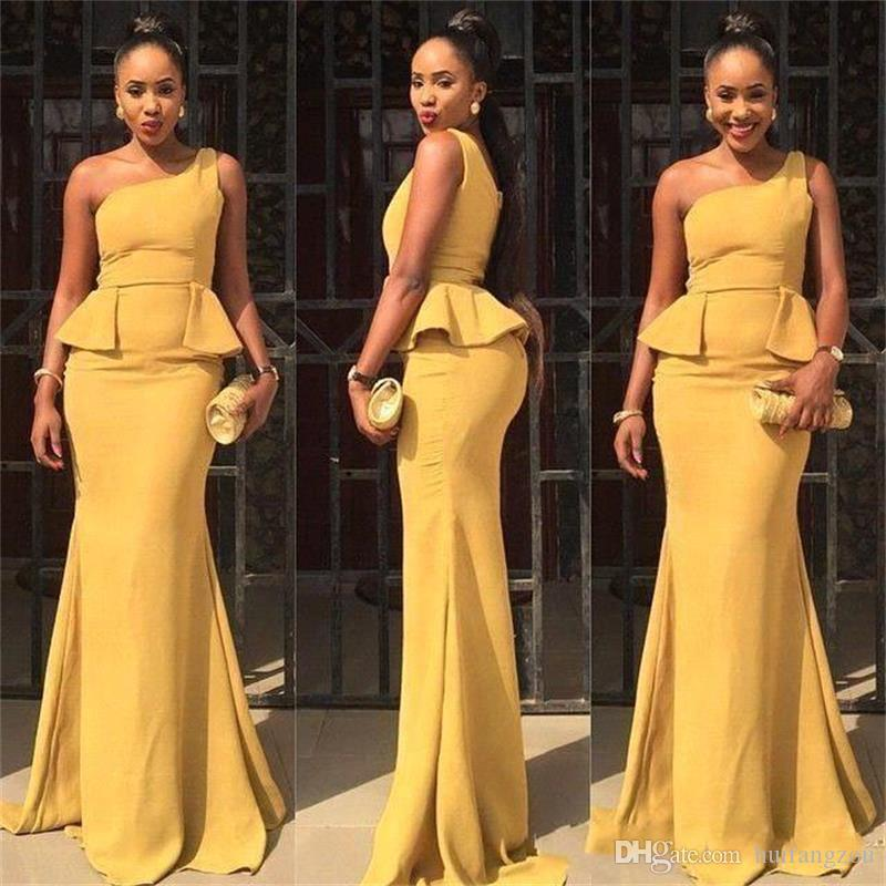 56cc35e40f16b Daffodil Long Bridesmaid Dresses With One Shoulder Strap Ruffles Peplum  Design Women African Mermaid Evening Prom Dress Custom Made Vintage  Bridesmaid ...