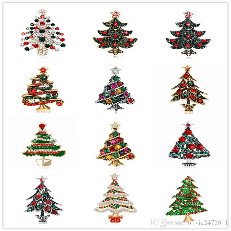 12 Designs Mix Silver Gold Alloy Christams Tree Brooches Jewelry For Women New Fashion Rhinestone Crystal Trees Pin Brooch DB