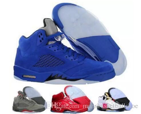 720a364b0ca1 Cheap 5 New 5s Men Basketball Shoes Premium Bordeaux Red Blue Suede ...