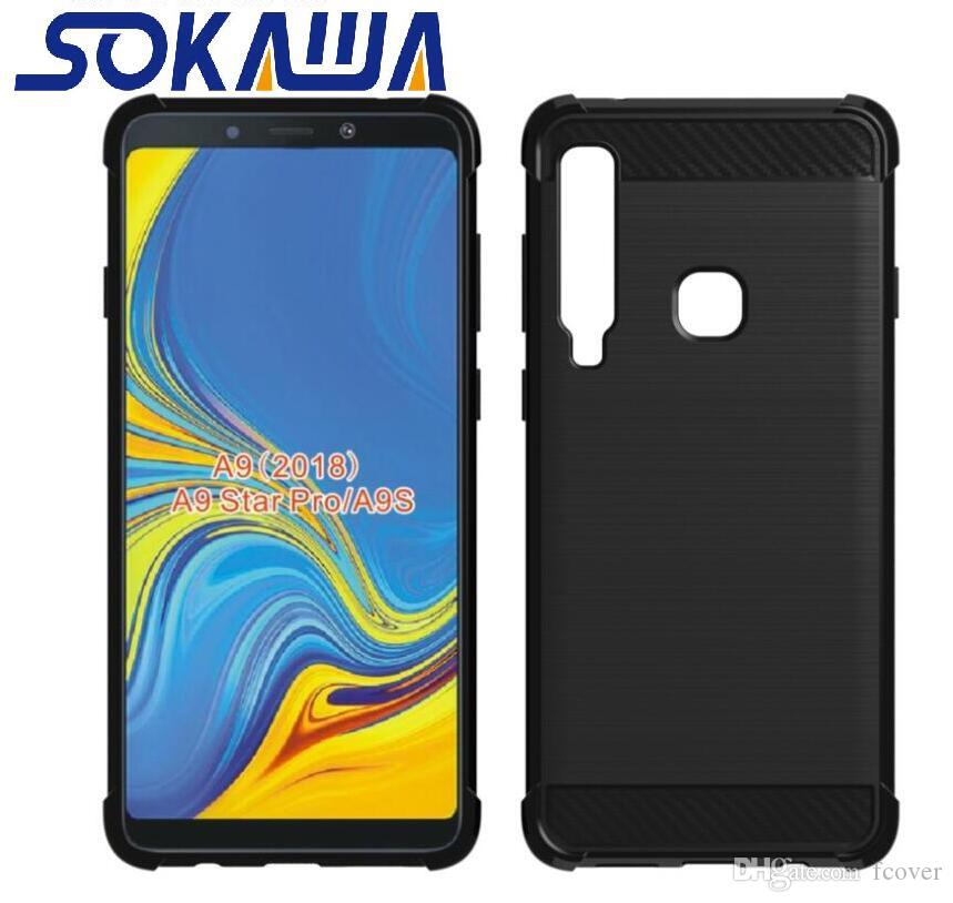 huge selection of c7c42 3fb8b For Samsung Galaxy A9 2018 & Galaxy A7 2018 Case Soft Carbon Fiber TPU  Silicon Protection Shell Gel Skin Phone Cover