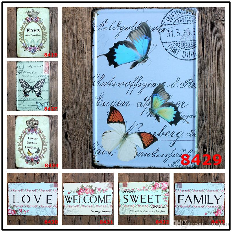 Butterfly Home Decor: 2019 11.81x7.87 Butterfly Retro Metal Signs Tin Painting