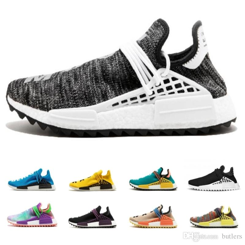 new style 6afc9 3be43 2018 New Human Race pharrell williams Hu trail Black Canvas Cream Core Mens  Women Breathable Running Shoes Sports sneaker