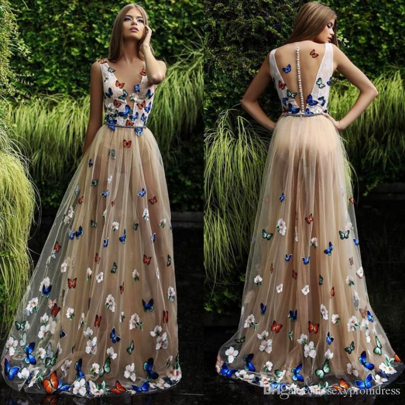 Butterfly And Flower Prom Dresses 2018 Sheer Neck Sleeveless Long Evening Gowns Back Covered Buttons Arabic Formal Party Dress Custom Made