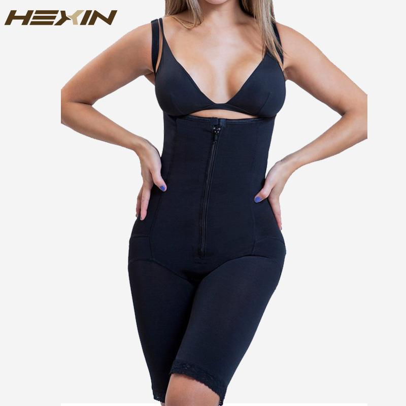 c22385f49 2019 HEXIN Full Body Shaper With Butt Lifter Fajas Clip And Zip Latex Waist  Trainer Vest Bodysuit Slim Firm Tummy Control Shapewear From Glass smoke