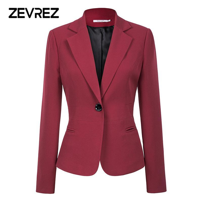 Compre Rojo Vino Negro Mujer Blazers Y Chaquetas 2018 Nuevo Otoño Moda Solo  Botón Blazer Femenino Office Mujer Blazer Abrigo Zevrez A  28.85 Del Vickay  ... 4d0375faea1a