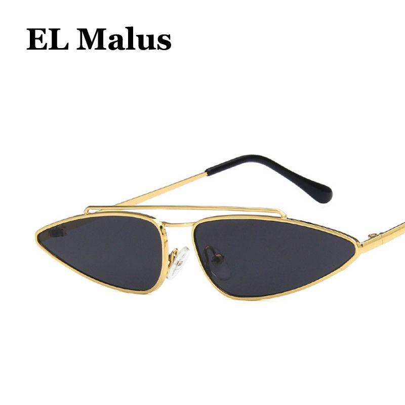 41bf62278f Compre EL Malus Marco Fino De Metal Con Ojo De Gato Gafas De Sol Mujeres  Hembras Sexy Pink Pink Lens Gold Black Shades Oculos De Sol A $34.41 Del  Zaonoodle ...