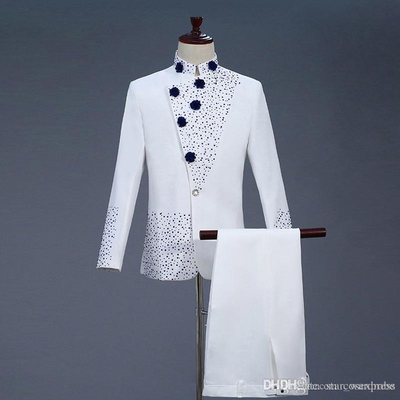 2019 18th Century White Men S Two Piece Prom Suits Retro Blue