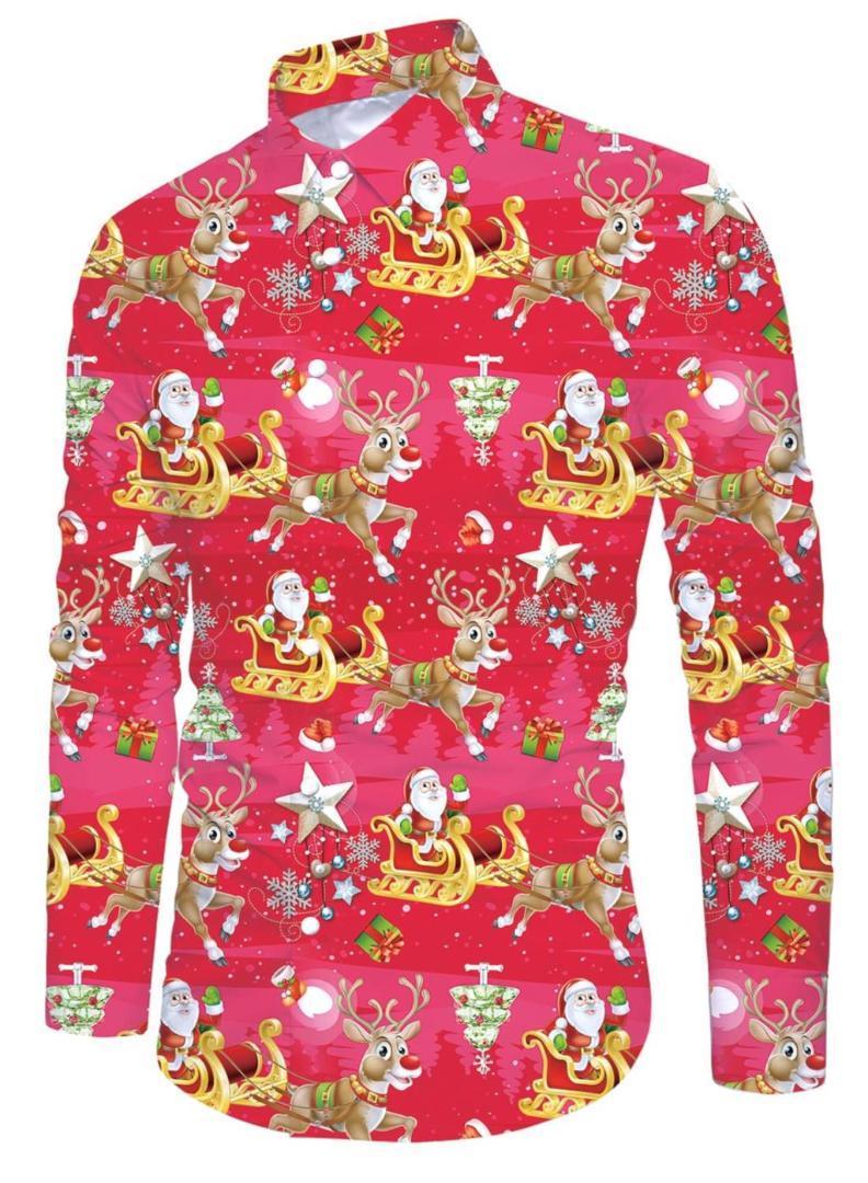 2019 Christmas 3d Print Men Dress Shirt Long Sleeve Slim Fit Casual