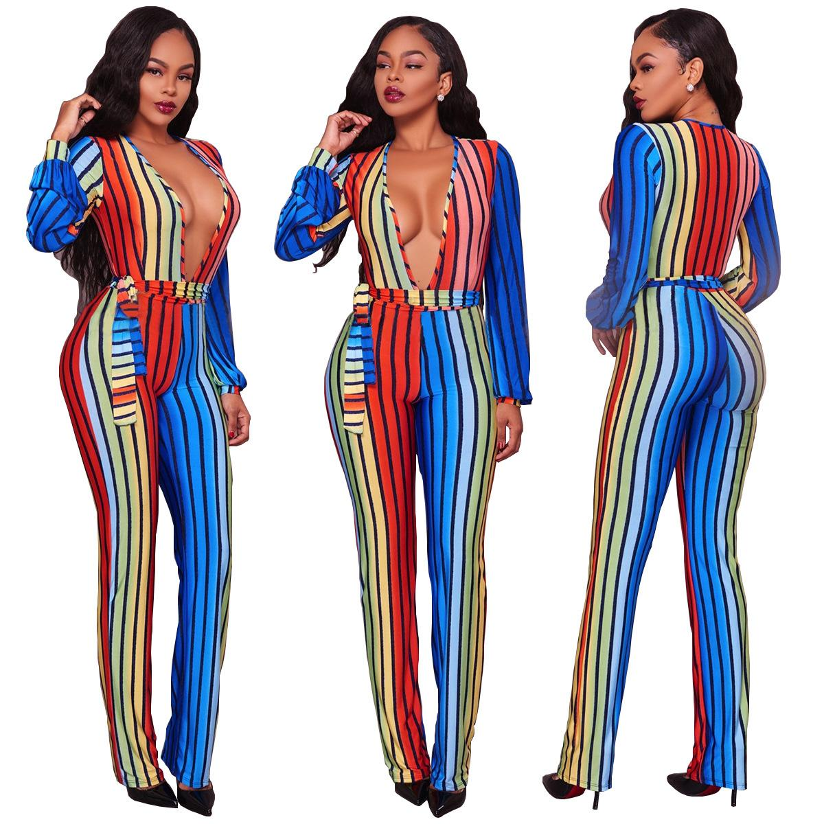 7f23a2a15bb 2019 Red And Green Striped Women Korean Style Plus Size V Neck Full Sleeve  Women Fashion Jumpsuit Casual Bodycon Bandage Sexy Rompers From Easme