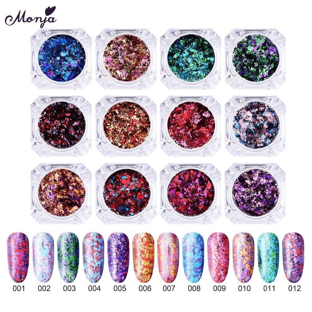 Monja 12 Farben Nail Art Chameleon Glitter Magie Spiegel Unregelmäßigen Flakes Pailletten Pulver Staub Diy Dekorationen Nagelglitzer