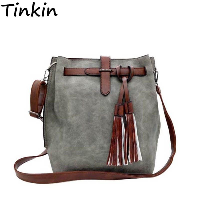 a2b2c9db9c74 Tinkin Fashion Scrub Women Bucket Bag Vintage Tassel Messenger Large ...