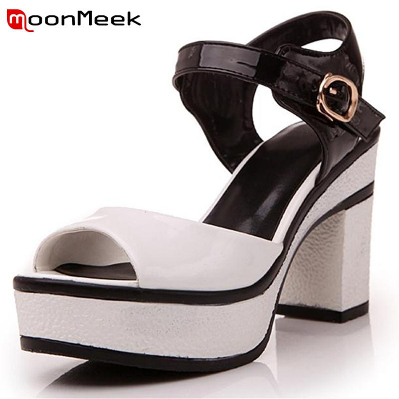 0431c1b2a772 MoonMeek 2017 Summer High Heels Shoes Mixed Colors Pu Buckle Party Shoes  Platform Women Sandals Fashion Elegant Hot Sale Ladies Shoes Red Shoes From  Bking
