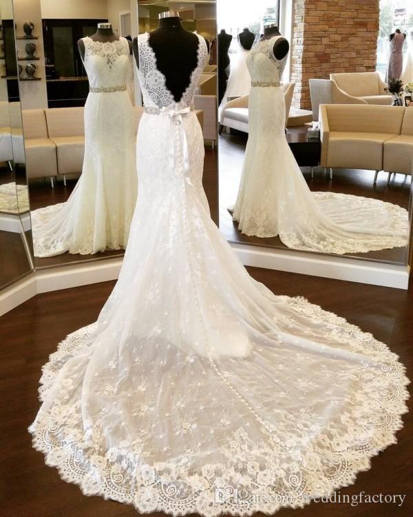 Sexig plusstorlek Mermaid Backless Wedding Dresses Illusion Nacke Ärmlös Spets Brudklänningar med Beaded Sash Sheer Train