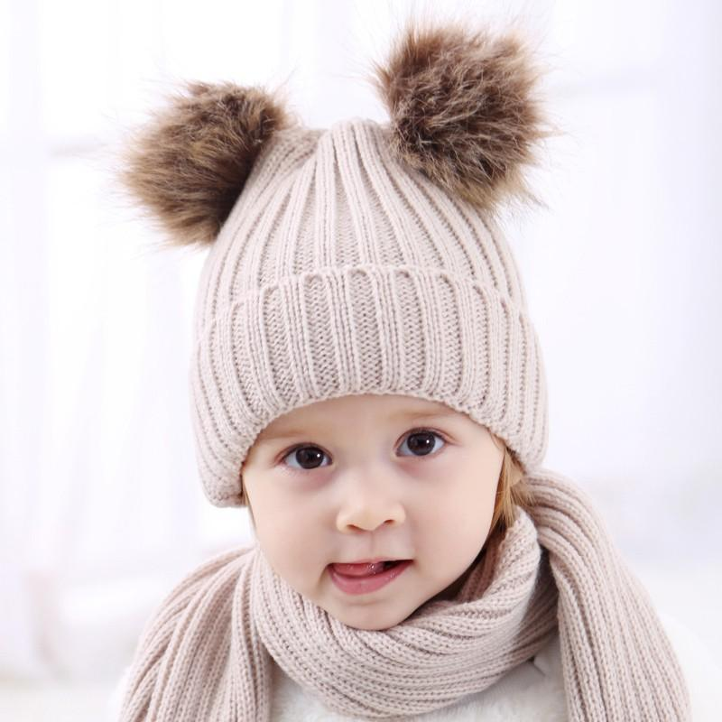 c11fbdf08 Dual Ball Knitted Baby Cute Beanie Raccoon Fur Pom Bobble Kids Hat Warm  Crochet Hats Kawaii Baby Winter Hat
