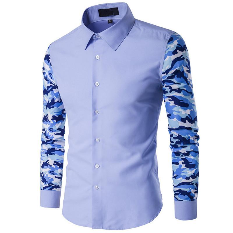 new style 7f65d ed881 Camicia Uomo Camouflage Camicie Camicia Floreale Camicia Uomo Patchwork Blu  Chiaro Manica Lunga 5XL Blu Chiaro