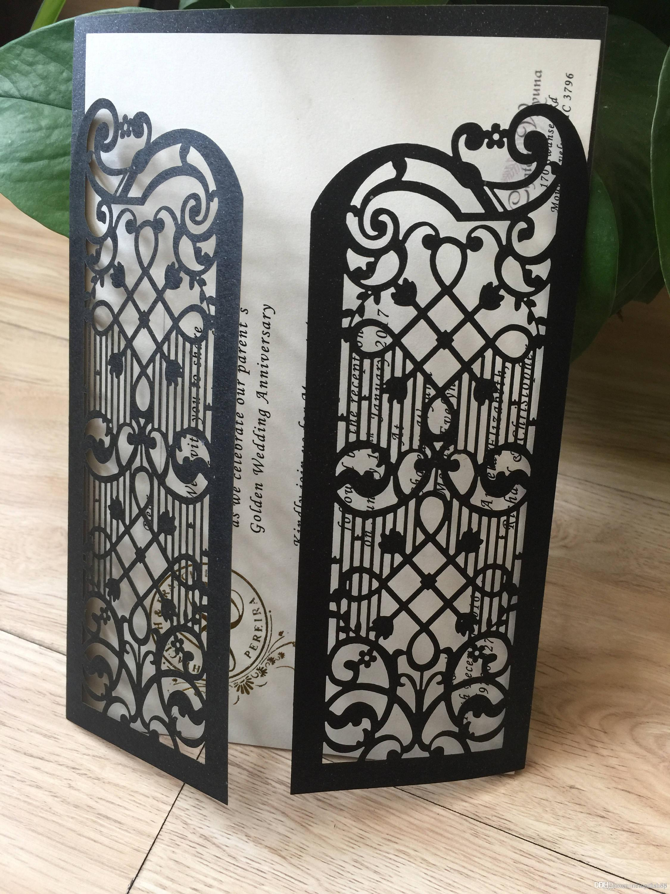 2019 Black Laser Cut Wedding Invitations, Gate Menu Invites, Custom Engagement Invitation Card With Envelope Making Your Own Wedding Invitations Message In ...