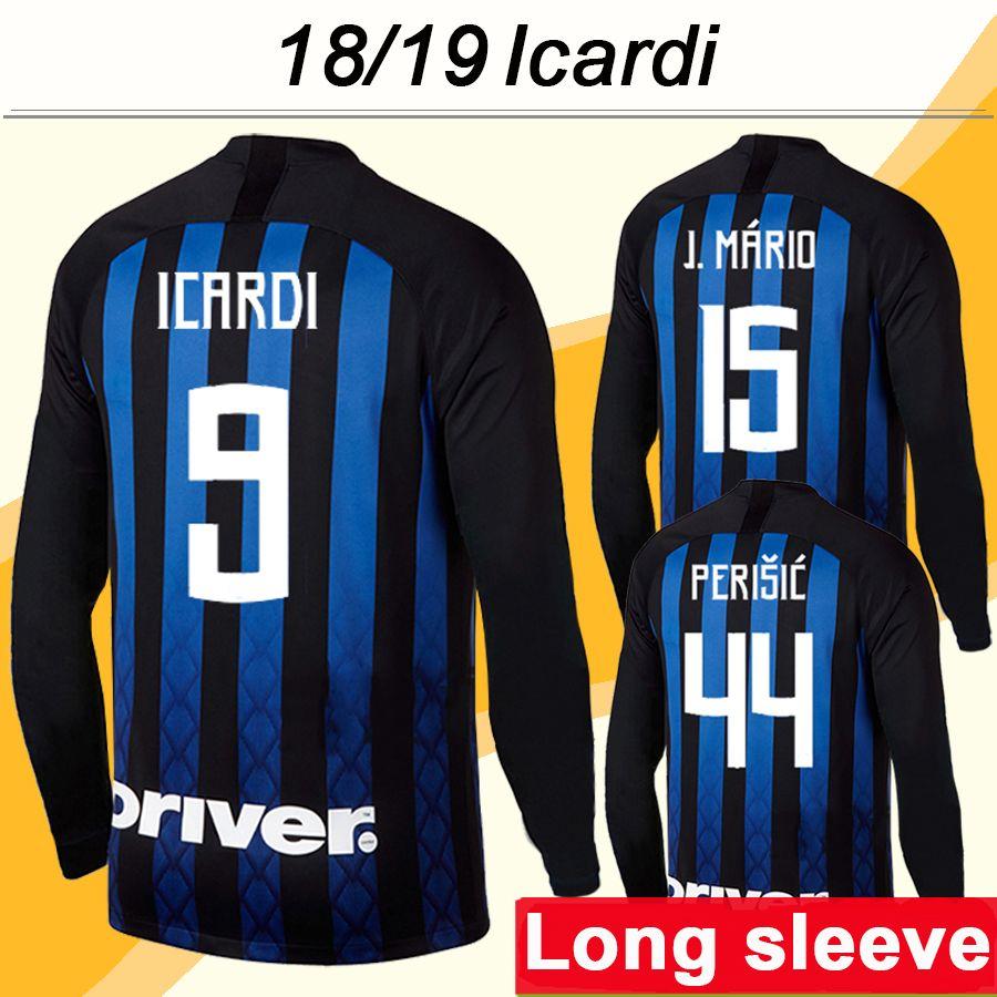 low priced 055e8 aab8c 2018 19 ICARDI PERISIC Long Sleeve Soccer Jerseys BROZOVIC LAUTARU MIRANDA  Home Football Shirts D AMBROSIO SKRINIAR J.MARIO Mens Uniforms