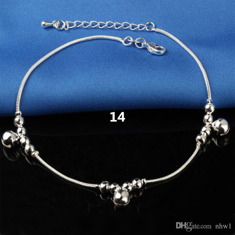 Sıcak Satış Damgalı 925 Ayar Gümüş Halhal Bayan Basit Boncuk Gümüş Zincir Halhal Ayak Bileği Ayak Takı