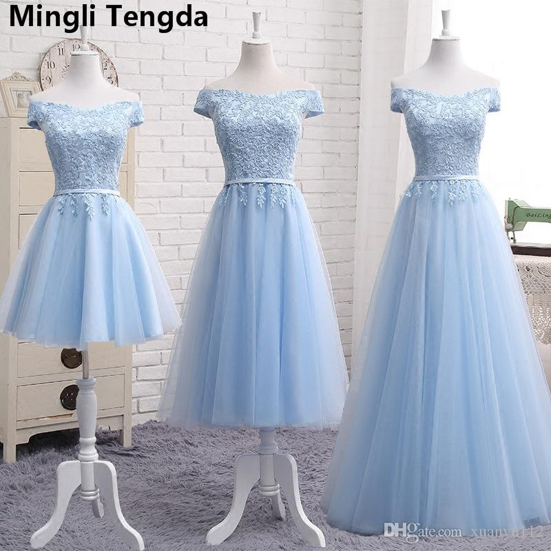 Mingli Tengda Light Blue Lace Elegante Brautjungfernkleider Boat Nevk Brautjungfernkleid Bademantel Demoiselle d'honneur A Line Sleeveless Dress 2018