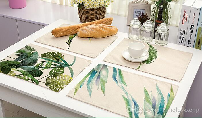 Ink Painting Leaves Placemat Green Color Leaf Pad Cotton Linen - Table pad fabric