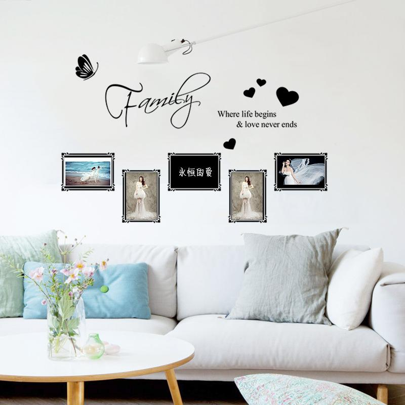 Removable Carved English Family Photo Frame Wall Sticker 3D Art ...