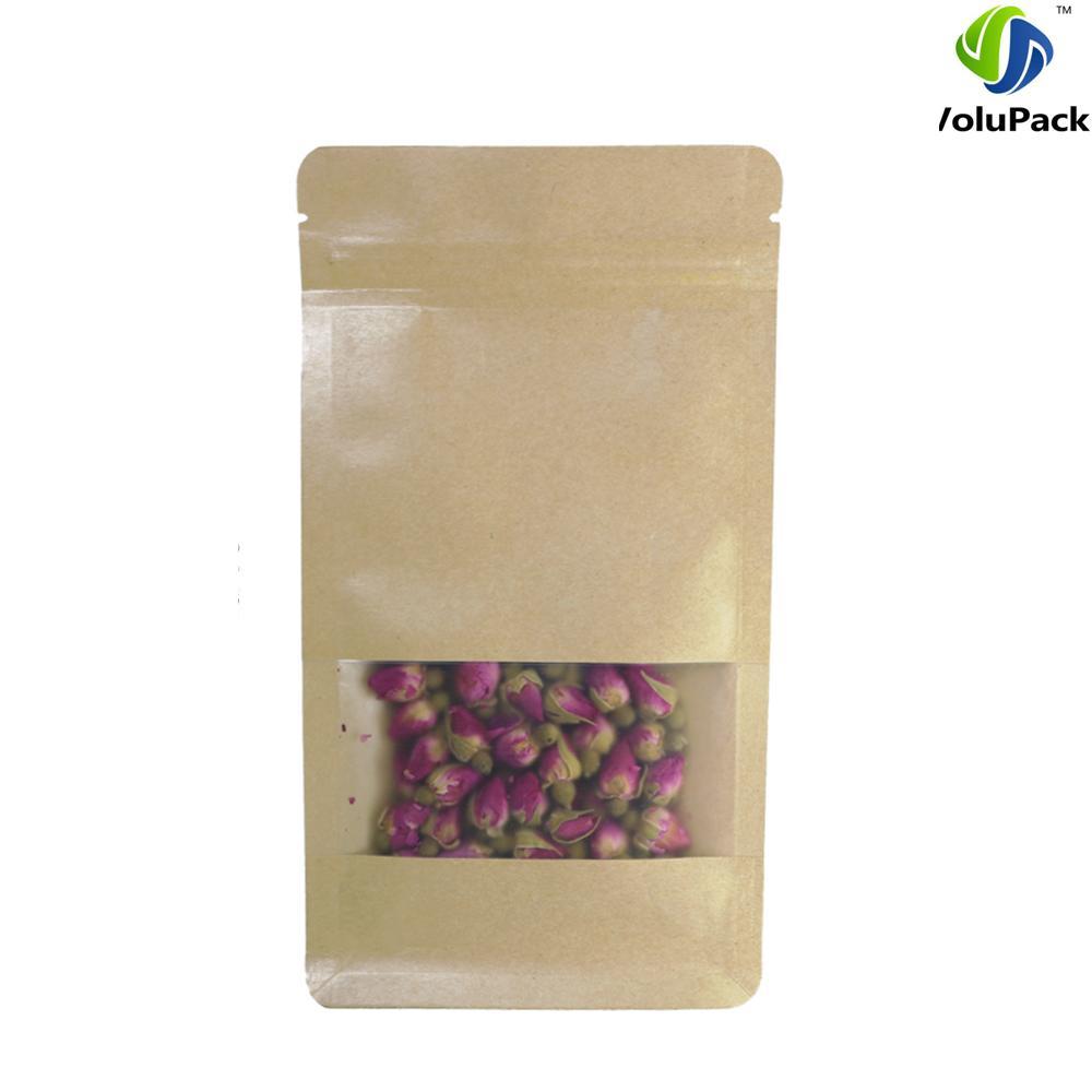 Discount 10x20+6cm 4x7.75+2.25 Zip Lock Tea Brown Kraft Paper ... on